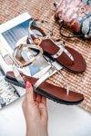Lu Boo Silver Mirrored Sandals Roman Flip-flops Lento