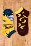 Mismatched Socks With Bananas Yellow-Brown