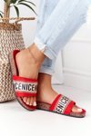 Slippers On Cork Sole With Cubic Zirconia Red Be Nice