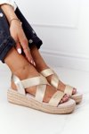 Wedge Sandals With Drawstring Big Star HH274414 Golden